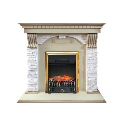Каминокомплект Dublin арочный сланец крем с очагами Majestic FX / Fobos FX